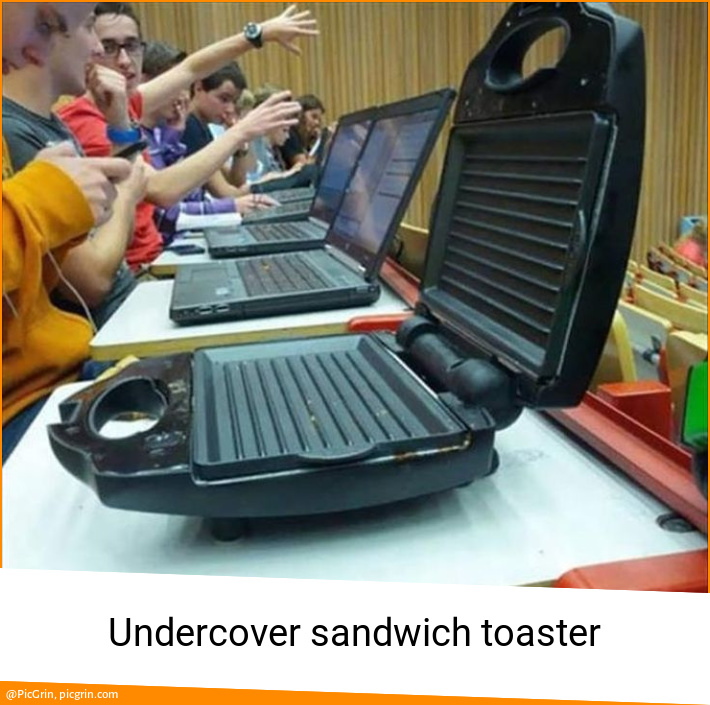 Undercover sandwich toaster