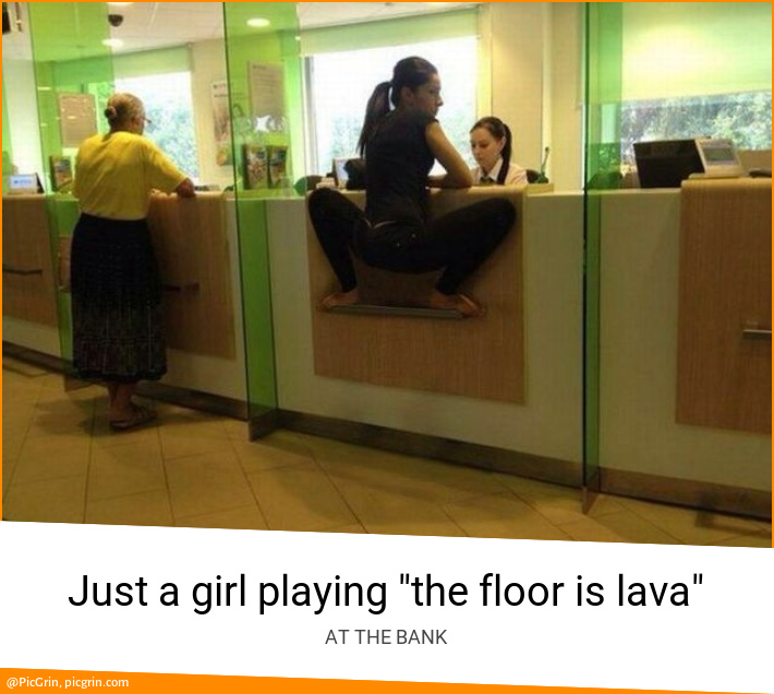 "Just a girl playing ""the floor is lava"""