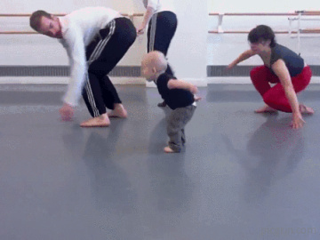 Baby leading modern dancing