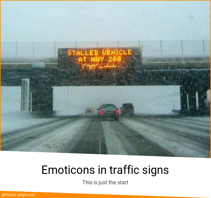 Emoticons in traffic signs