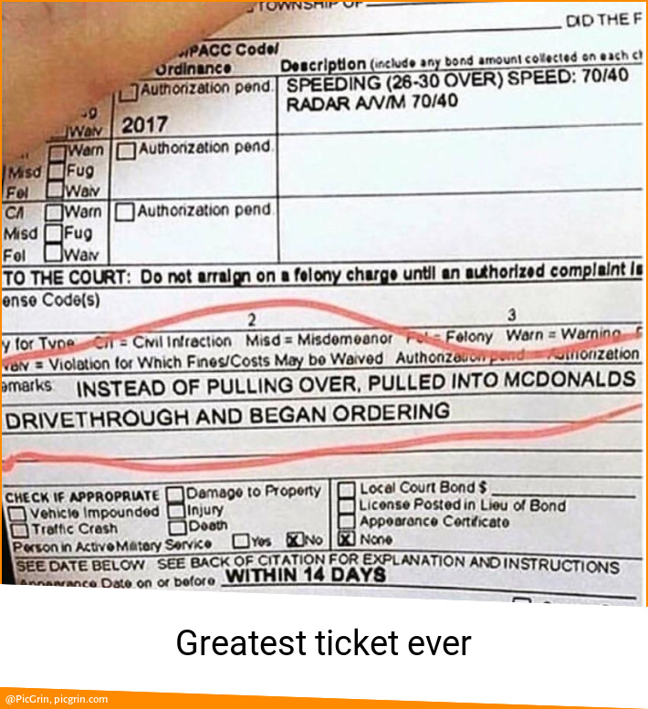 Greatest ticket ever
