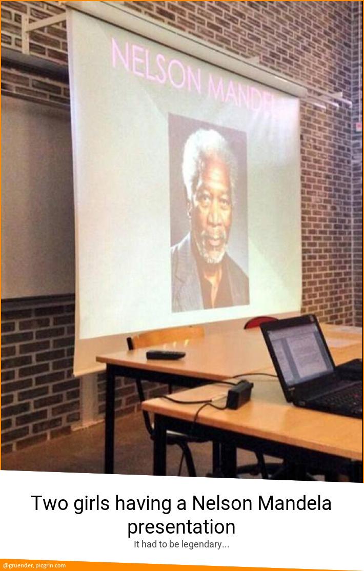 Two girls having a Nelson Mandela presentation