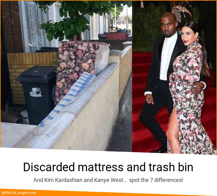 Discarded mattress and trash bin