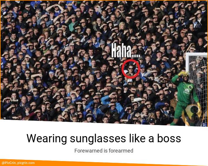 Wearing sunglasses like a boss