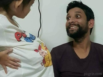 Reaction of father when baby girl act like a pregnant women