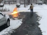 Using a snow shovel was too mainstream